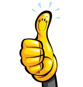 Thumbs up smiling yellow cartoon glove